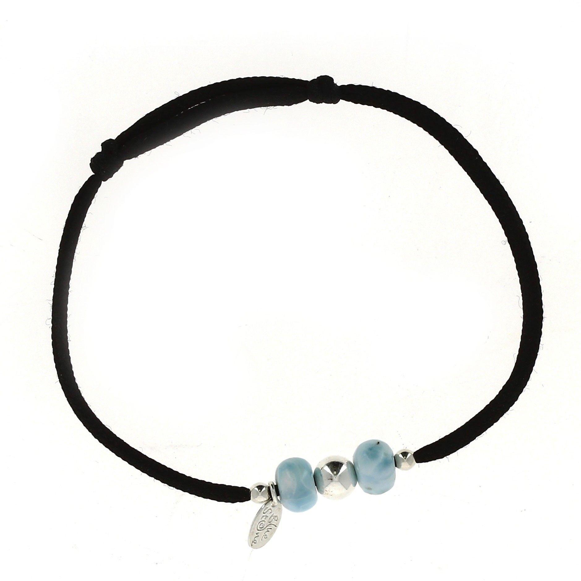 Bracelet Cordon avec perles de Larimar et argent - Blue Stone