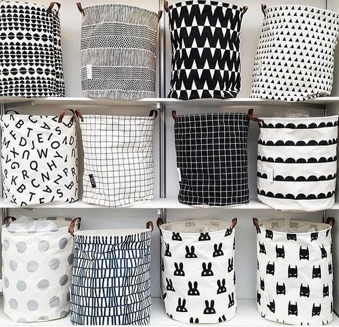 Organization Can Be This Simple Perfect Stylish Black And White Storage Bags That Work Great For Cl Rangement Linge Sale Rangement Jouet Enfant Rangement Sac