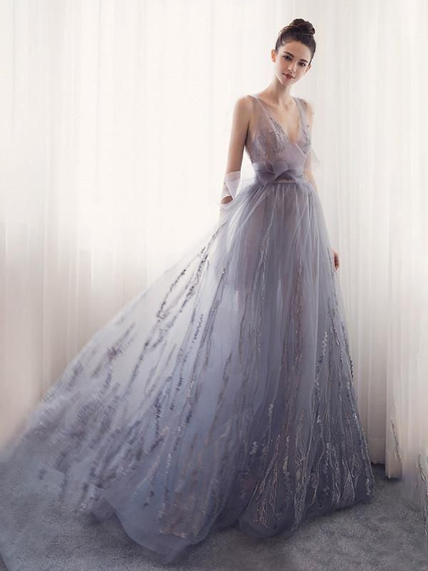 A-line Prom Dress V-neck Tulle Long Prom Dresses/Evening Dress SKY166 1
