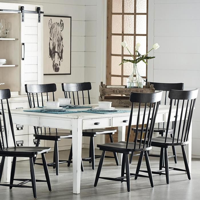Room Farmhouse 7 Dining Table In Jos White