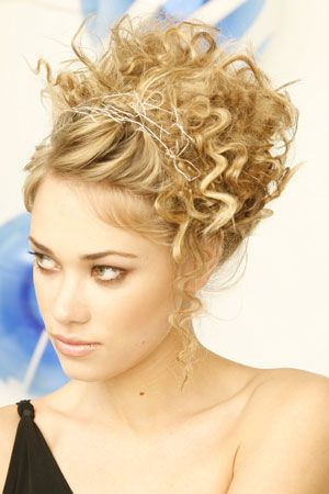 Fun And Funky Curly Updo Curly Hair Updo Curly Hair Styles Prom Hairstyles For Short Hair