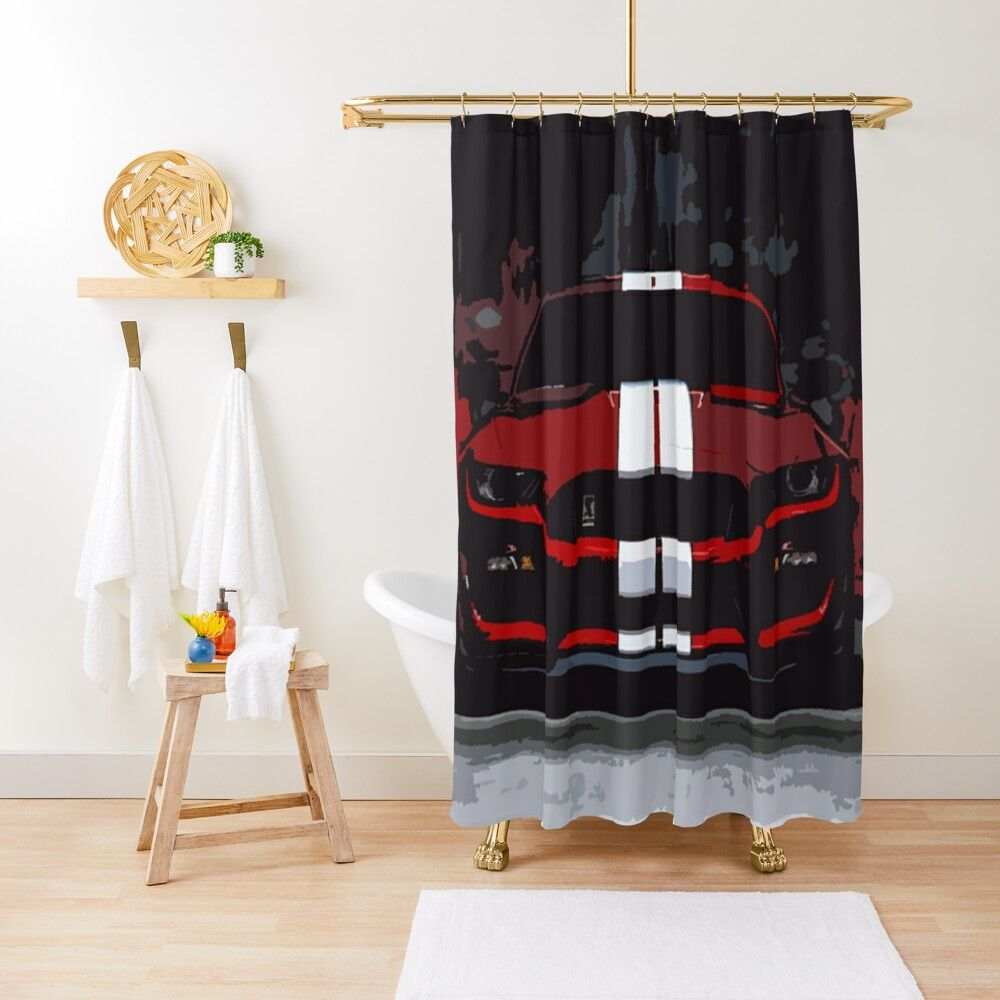 Ford Mustang Gt350r Artwork Shower Curtain Ford Mustang