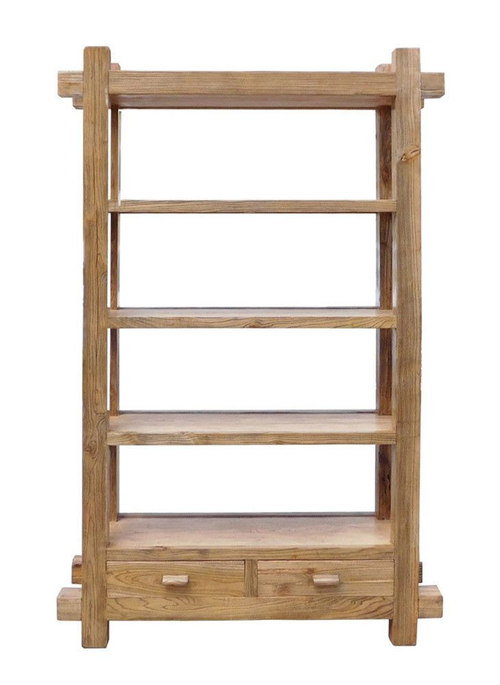 Rustic Raw Wood Open Shelf Bookcase Display Cabinet Cs1548s