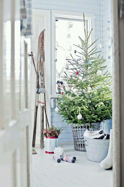 Weihnachtsbaum im Korb