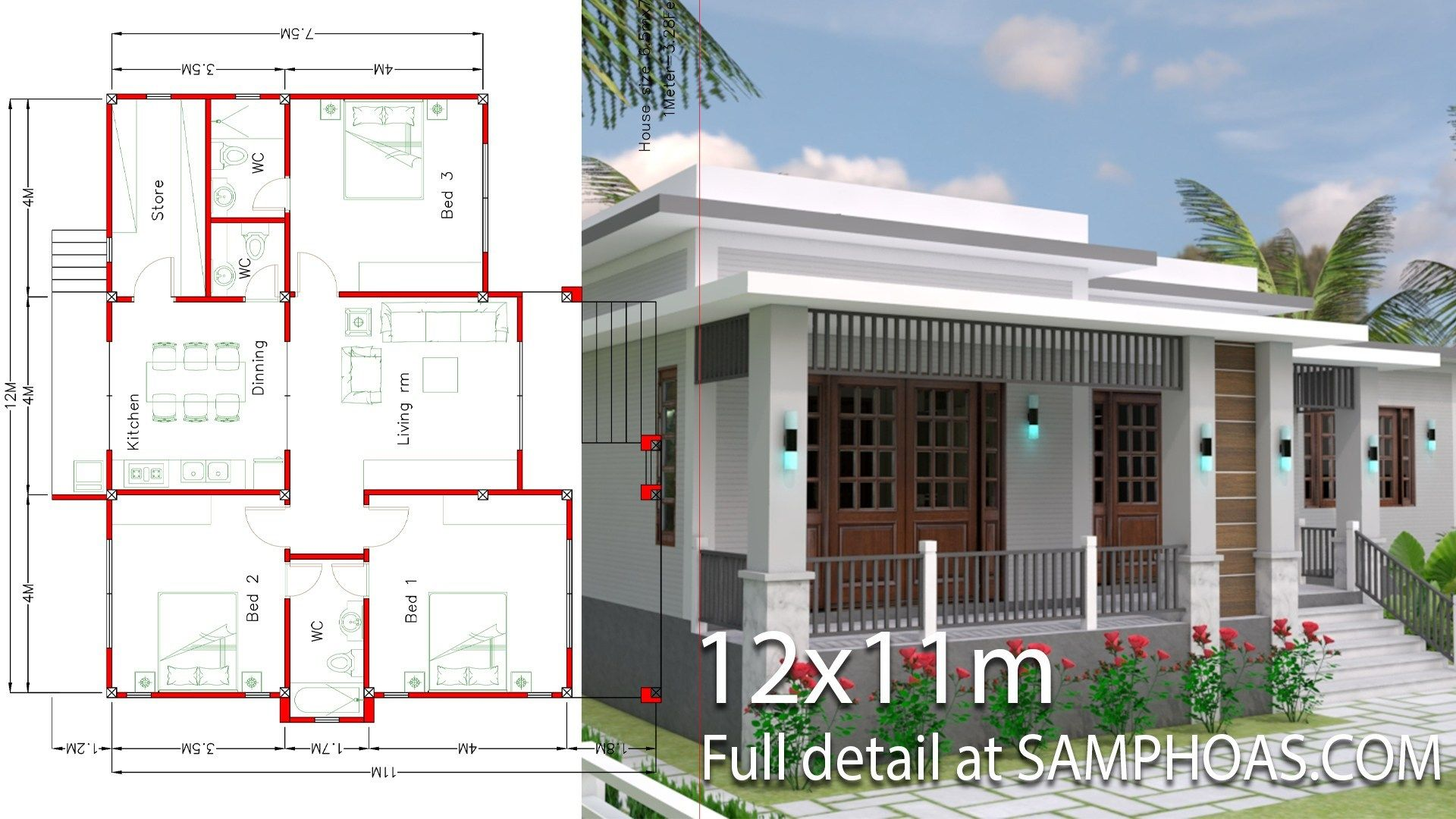 House Design With Full Plan 12x11m 3 Bedrooms Architectural
