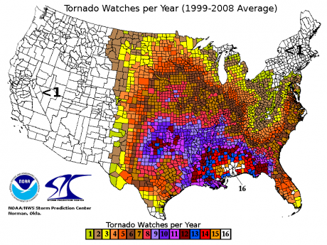 Tornado Watches Per Year Public Domain 460x345 The Best Place To Live In United States