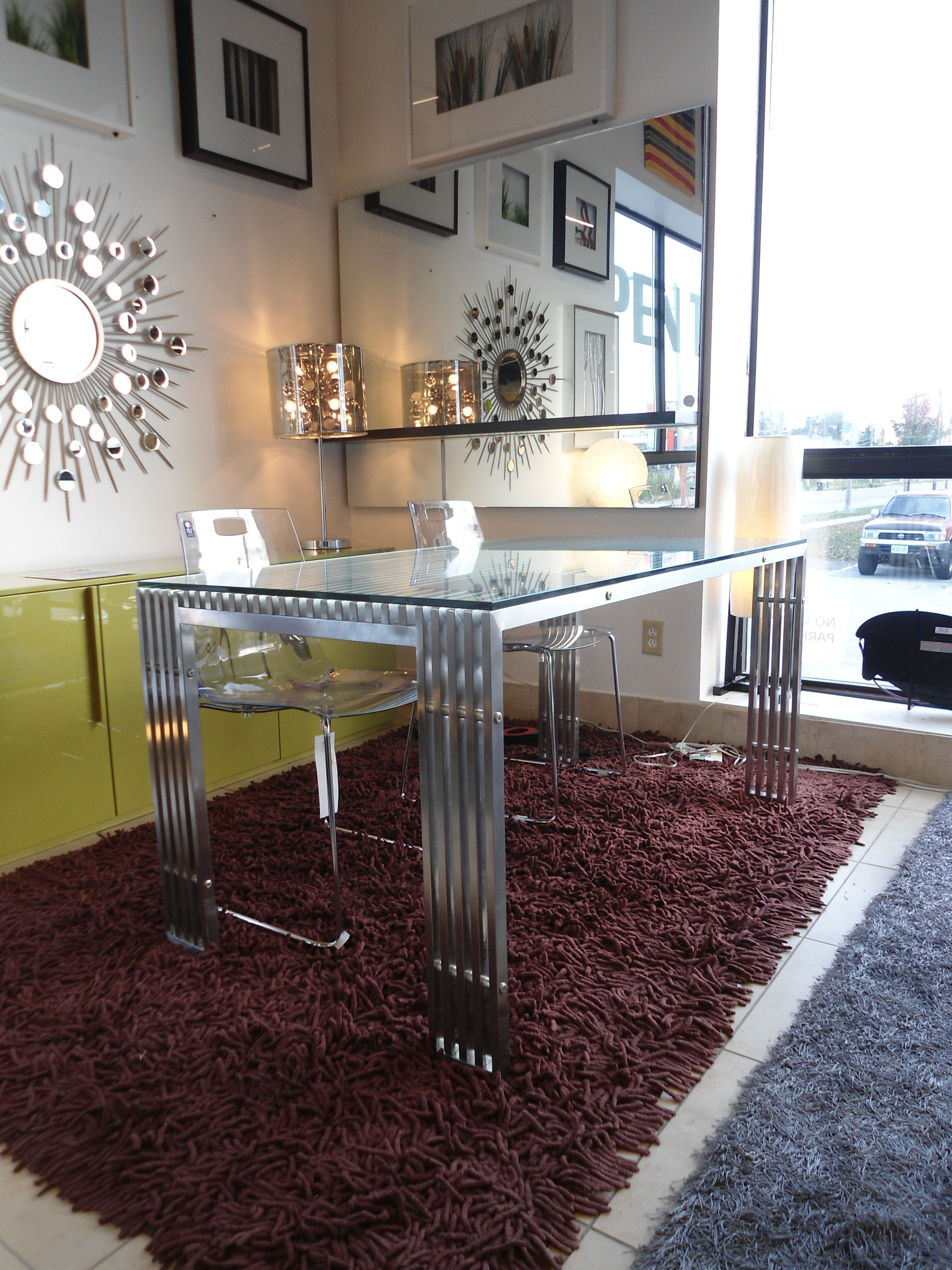 Clear Glass Console Table With Acrylic Chairs On Display Furniture Toronto