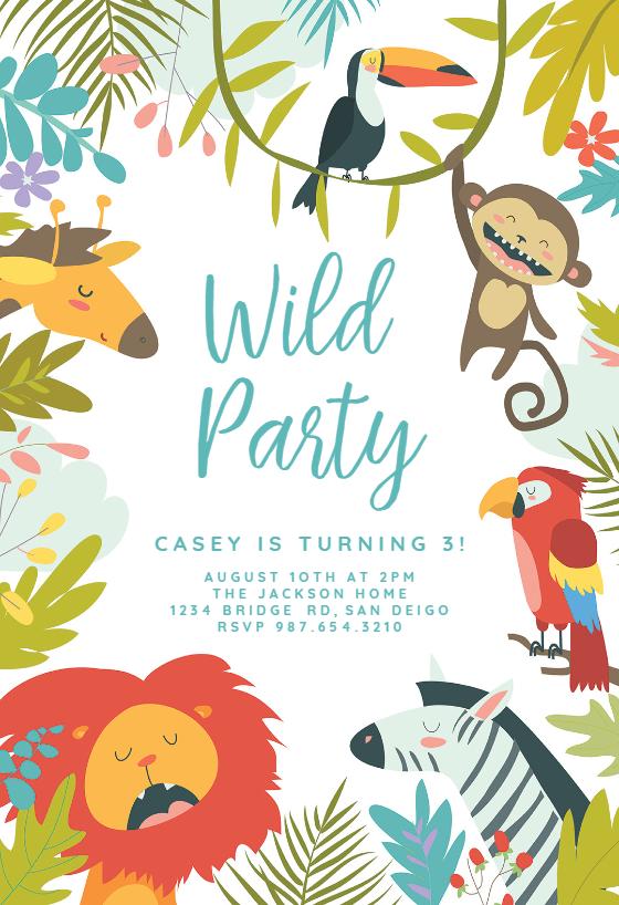Wild Animal Birthday Invitation Template Free Greetings Island Animal Birthday Invitation Party Invitations Kids Birthday Invitations Kids