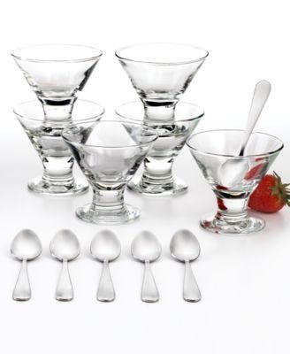 The Cellar Glassware, 12 Piece Mini Martini Dessert Set by The Cellar. $29.99. Made in USA. Dishwasher safe. Includes six 2.7-oz. martini bowls and 6 spoons. Glass/stainless steel. Think beyond the bar. These mini martini-inspired glasses from The Cellar are the perfect size and shape for a scoop of sorbet or sliced berries and cream. Tiny spoons help you take it slow and savor each dreamy bite.