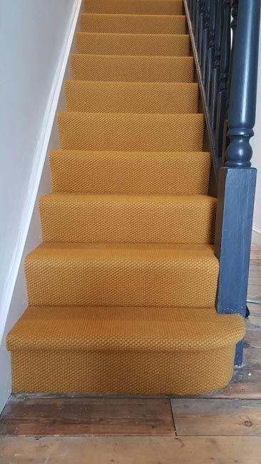 Orange Beige Stair Carpet Installation