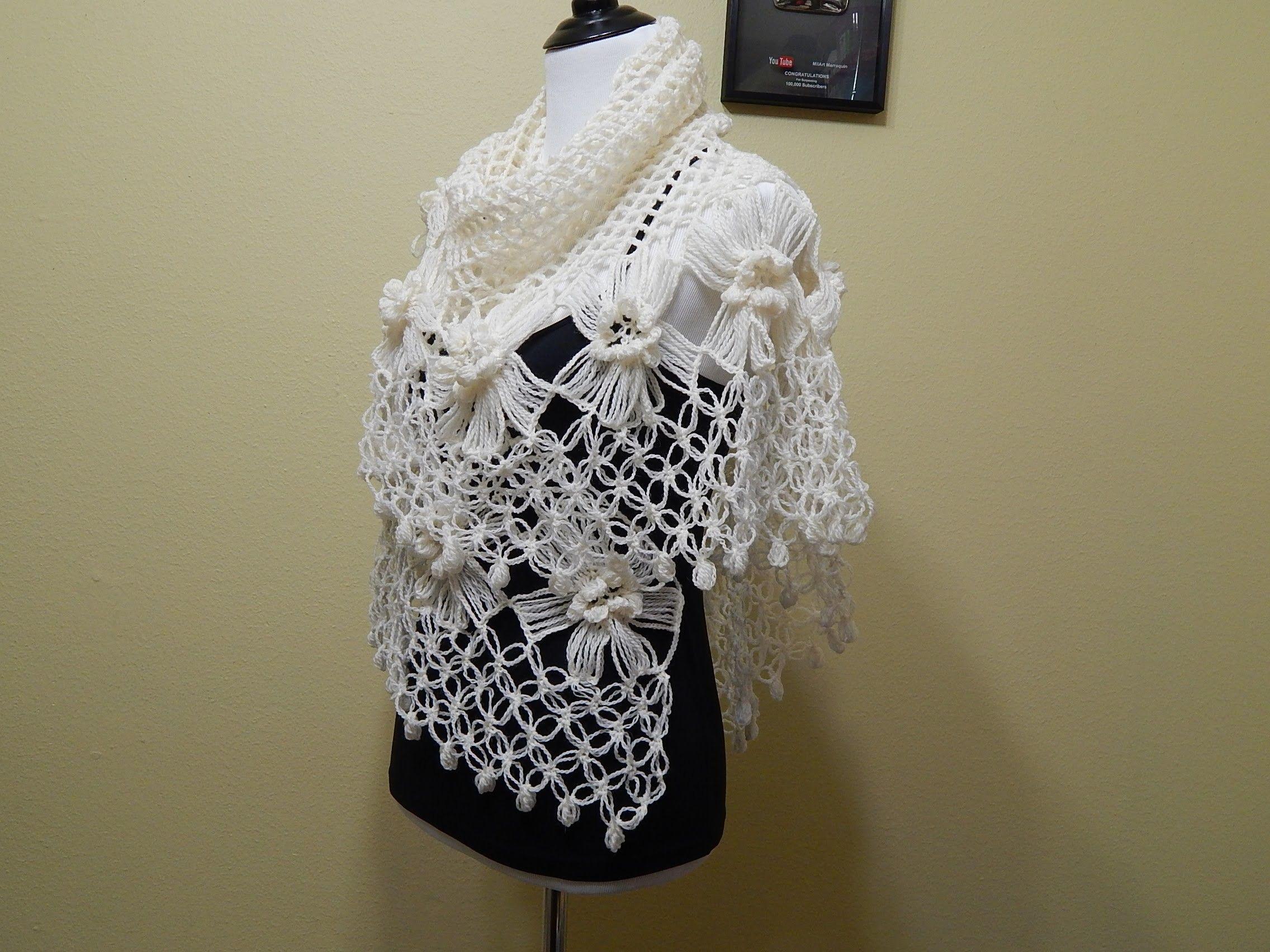 Flor # 14 Horquilla para Chal Crochet | bufandas ponchos y ...