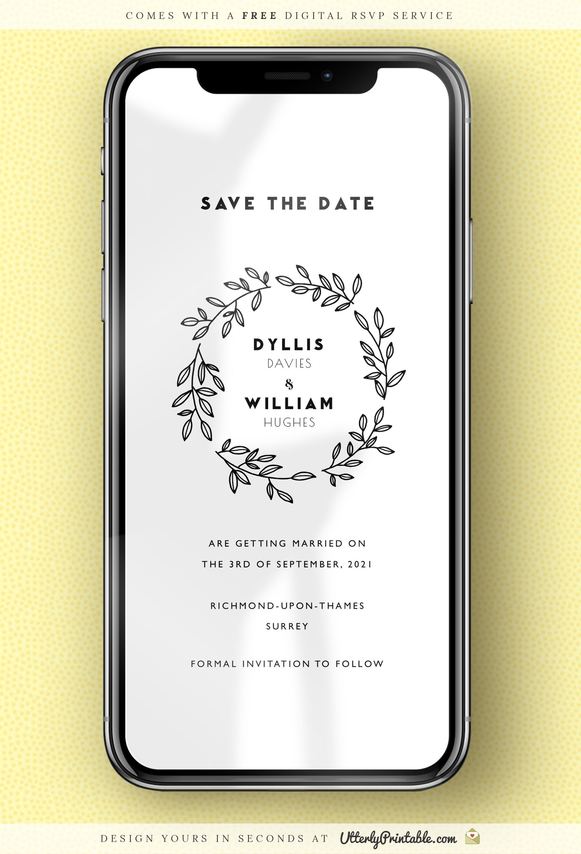 Electronic Wedding Save The Date Simple Wreath Digital Save The Date For Whatsapp Text Dig Wedding Saving Save The Date Designs Wedding Save The Dates