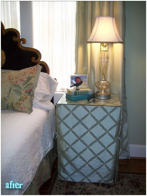 Cover file cabinets with fabric, add a glass topper and viola ...