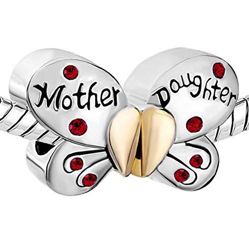 Pugster Silver Plated Mother Daughter Charms Separable Butterfly Bead Fits Pandora Charms Bracelet (Red)