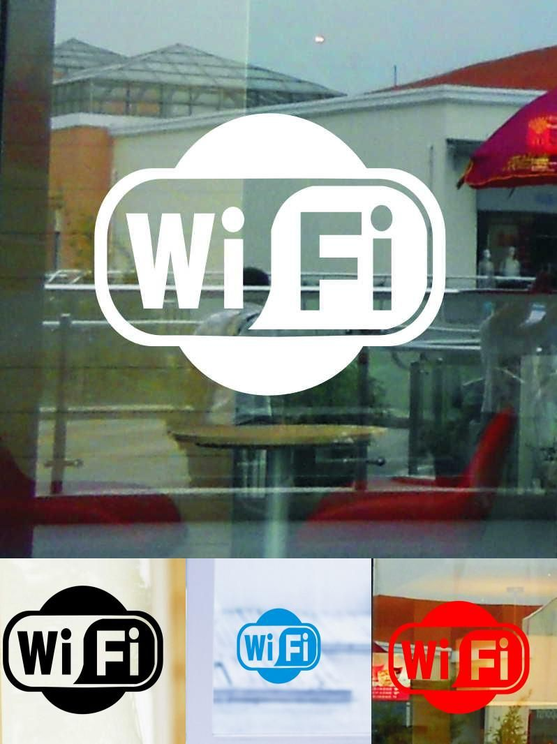 Visit to buy wifi logo business decoration wall sticker shop window
