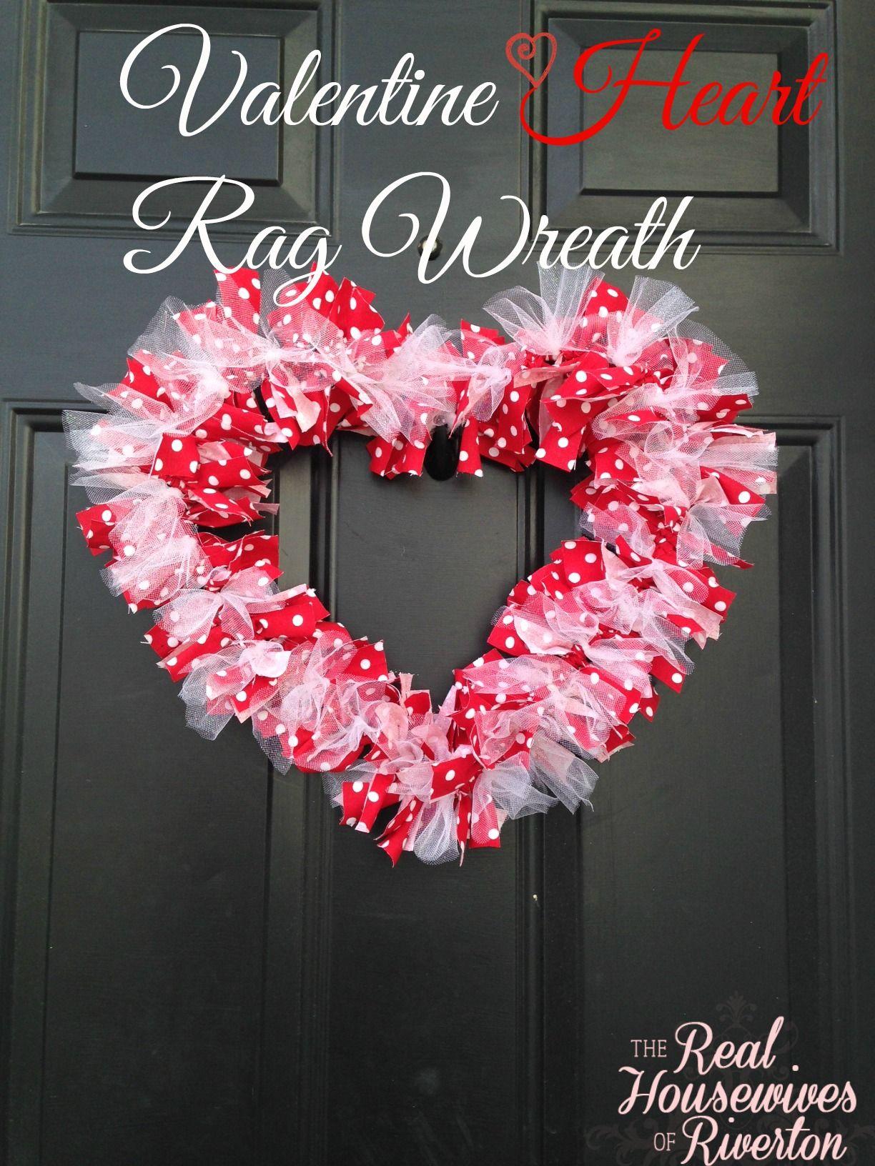 Diy valentine heart rag wreath valentine crafts front doors and diy valentine heart rag wreath rubansaba
