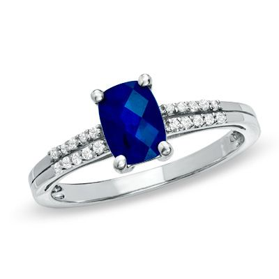 Cushion-Cut Lab-Created Blue and White Sapphire Ring in Sterling Silver - Zales