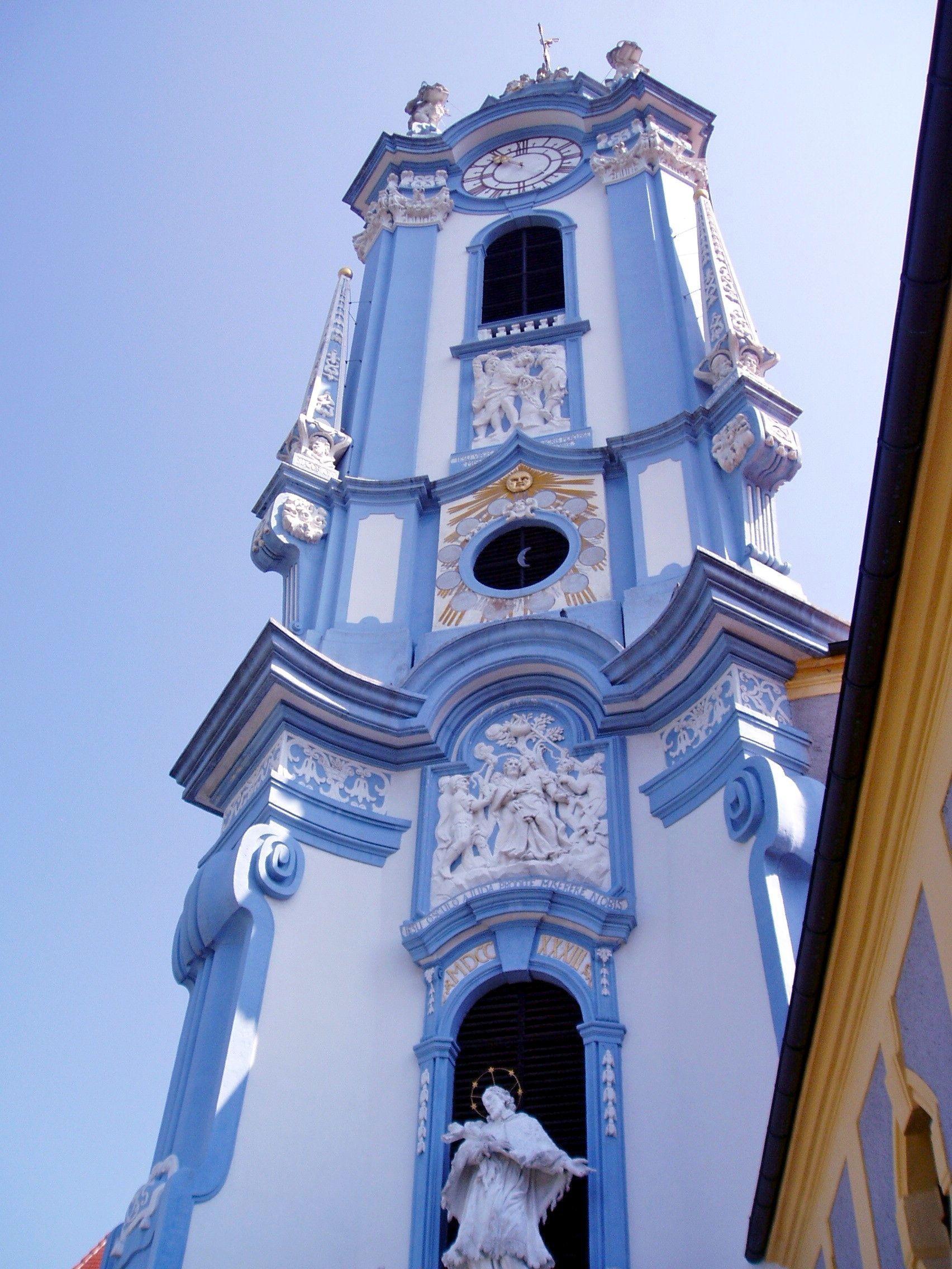 beautiful baroque steeple in Duernstein, Austria