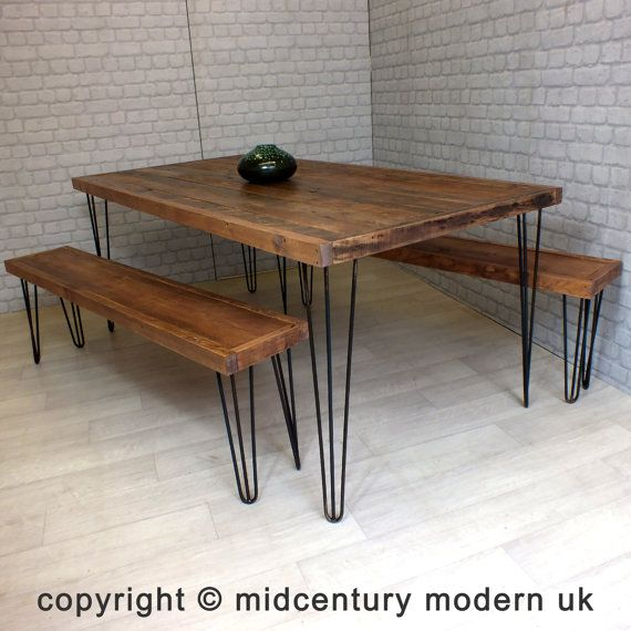 Hairpin Legs Vintage Industrial Reclaimed By Midcenturymodernuk With Images Mid Century Dining Table Dining Table Mid Century Dining