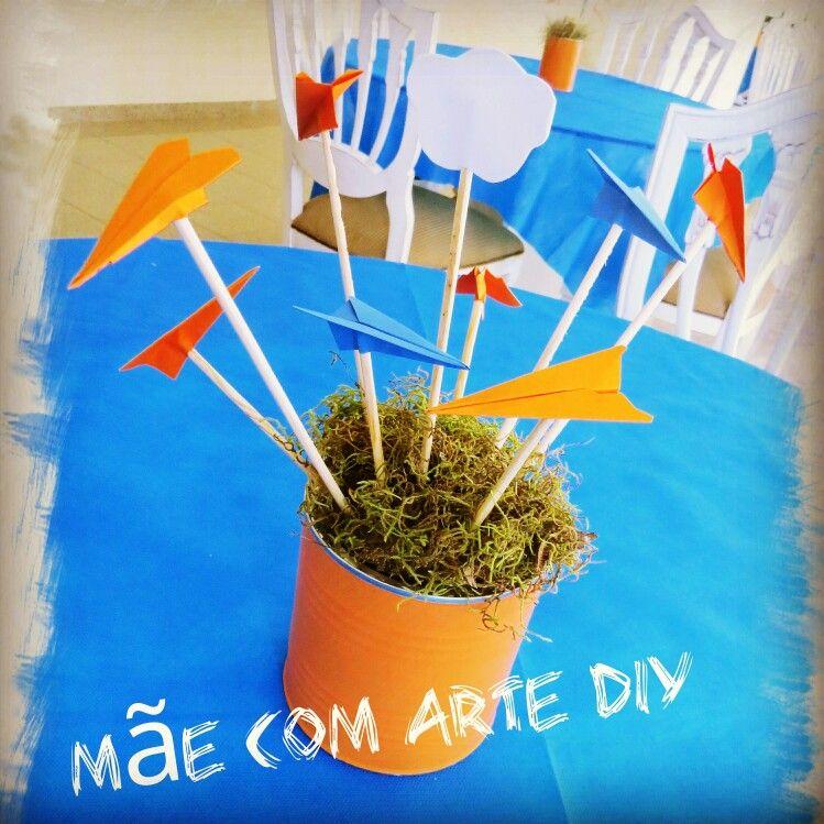 Centro de mesa, para decorar festa infantil com tema aviões!! Faça ...