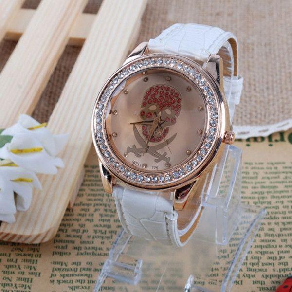 Womens Diamond Rhinestone Skull Pattern Leather Band Quartz Wrist Watch White FREE SHIPPING !!!