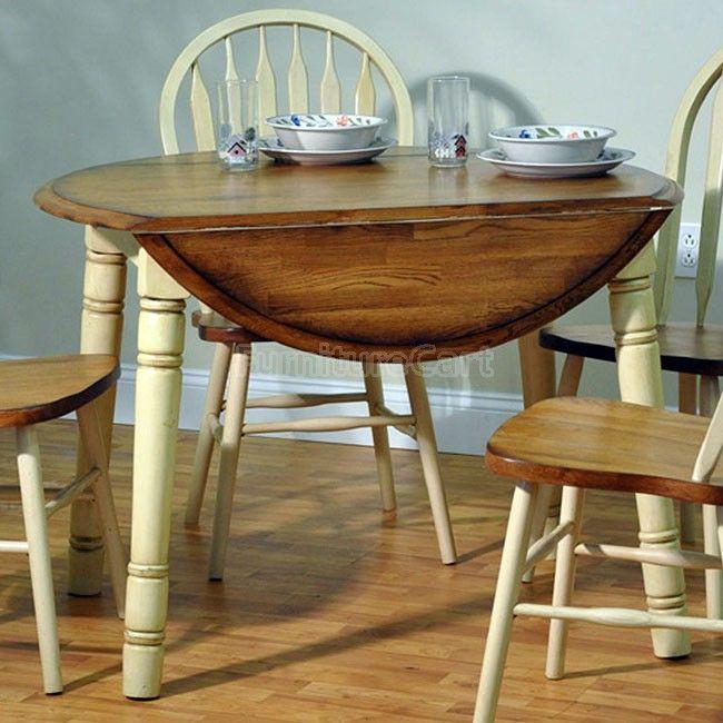 Farm House Round Table (Rustic Oak/ Antique White