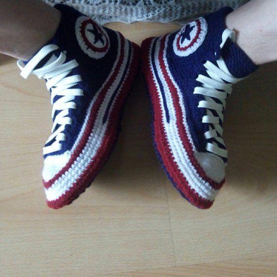 4b64e8165786e7 Crochet shoes for men  46 Knitted converse Crochet converse slippers man  Socks with sole House knitt