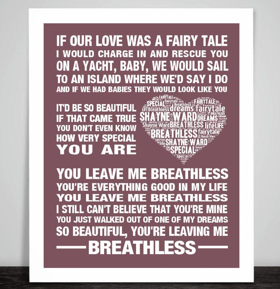 Love Song Lyrics Quotes Shayne Ward Breathless Music Love Song Lyric Print Wedding Dance