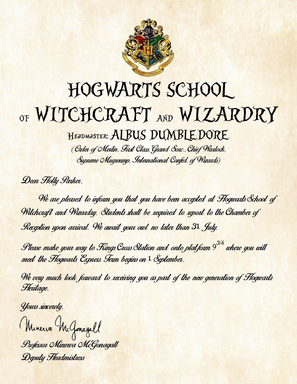 Personalized Harry Potter Acceptance Letter  Hogwarts School Of