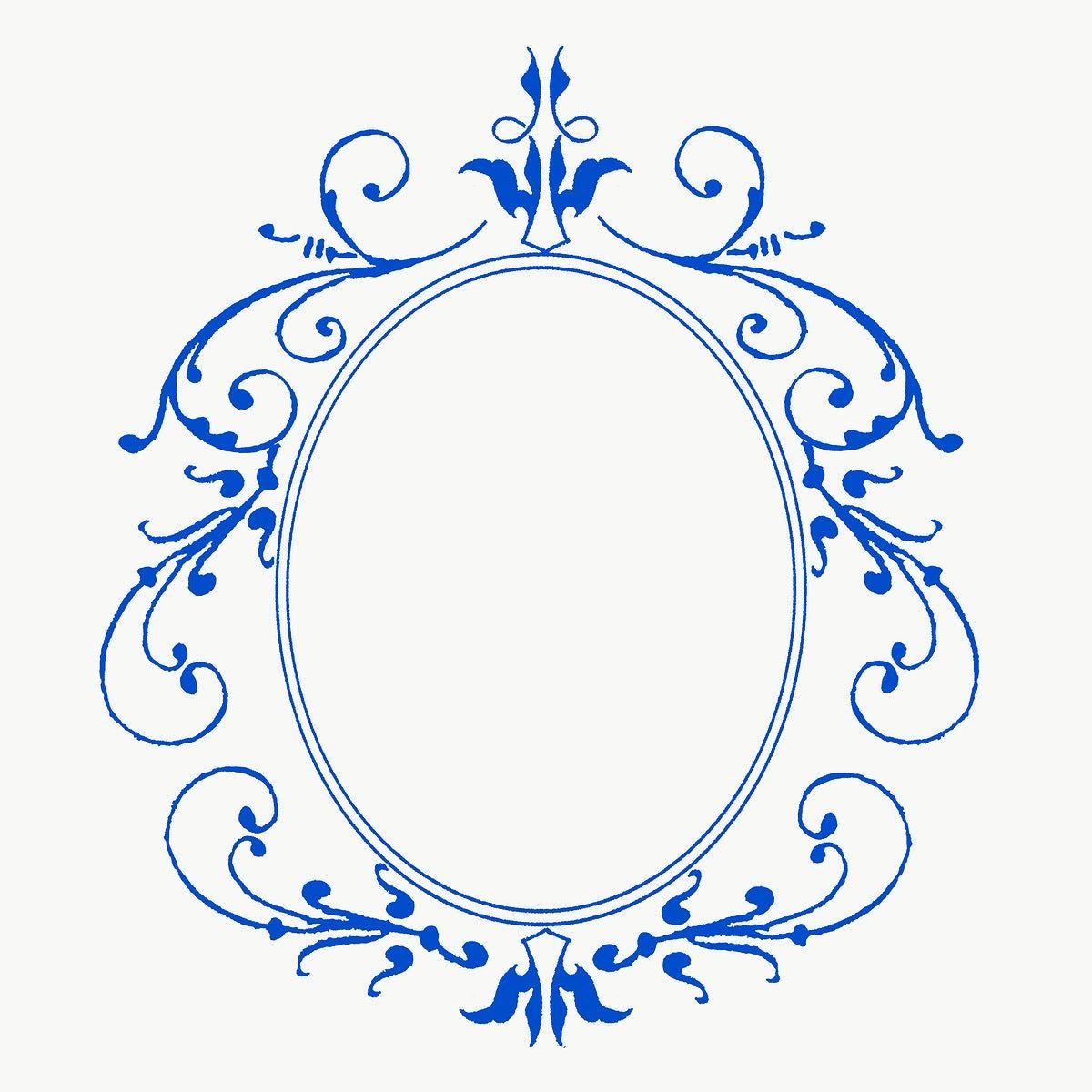 Download Premium Png Of Blue Filigree Frame Border Png 2648482 Antique Artwork Frame Free Illustrations