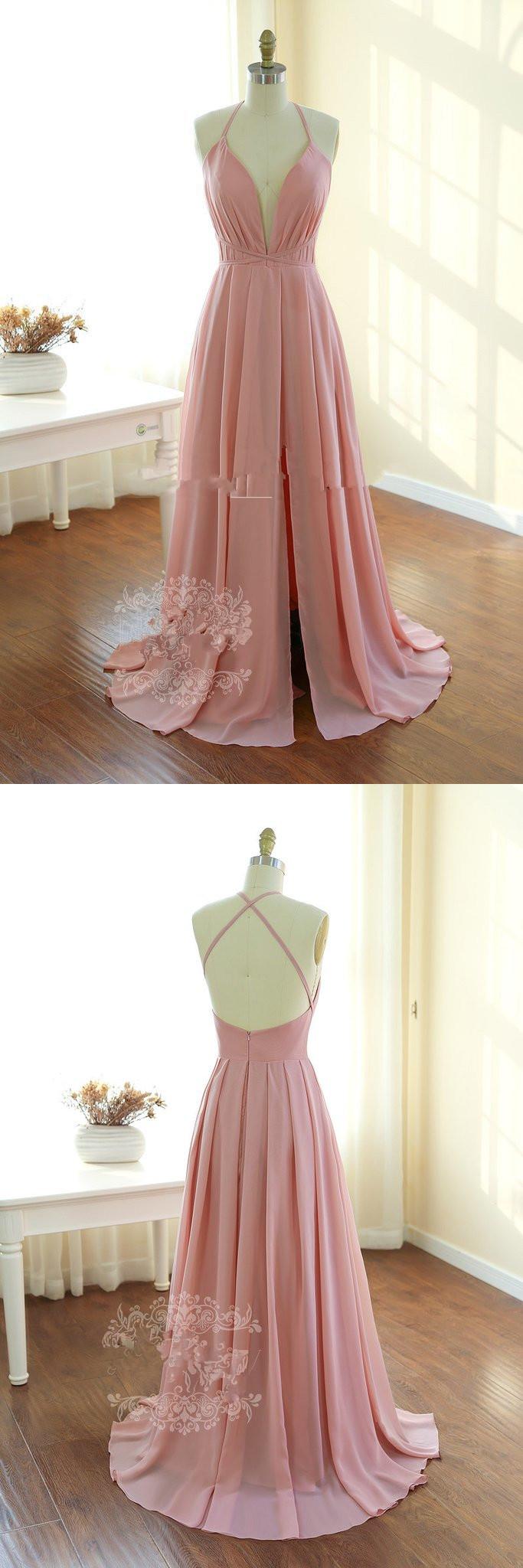 V neck long prom dress pink long homecoming dress backless