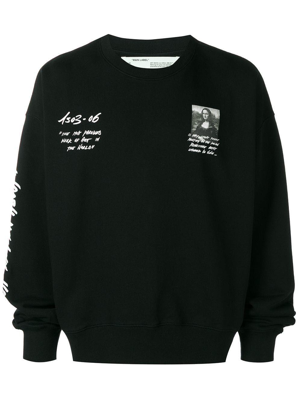 Off White Off White Mona Lisa Print Sweatshirt Black Off White Cloth [ 1334 x 1000 Pixel ]