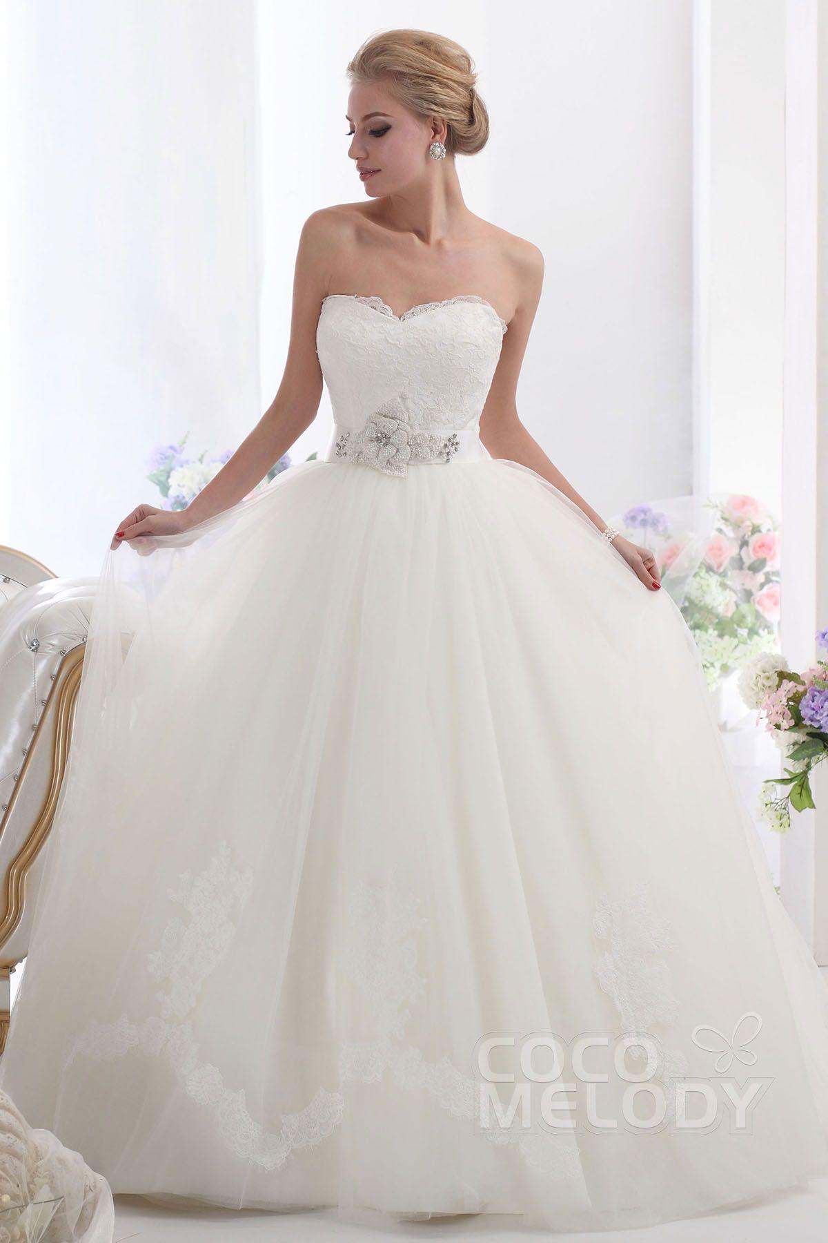 Sweetheart ball gown wedding dress  Graceful Ball Gown Sweetheart Chapel Train Tulle Wedding Dress