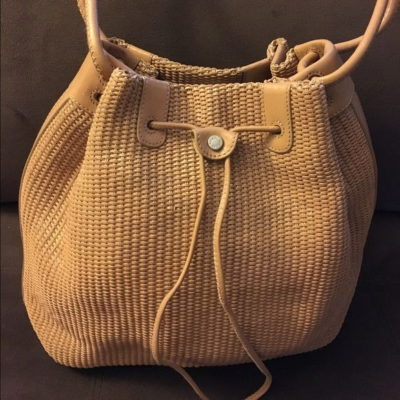 41d40d7ed86 Monsac original genuine leather woven bucket bag Preowned, like new  condition. Dimension approx 13x14.5
