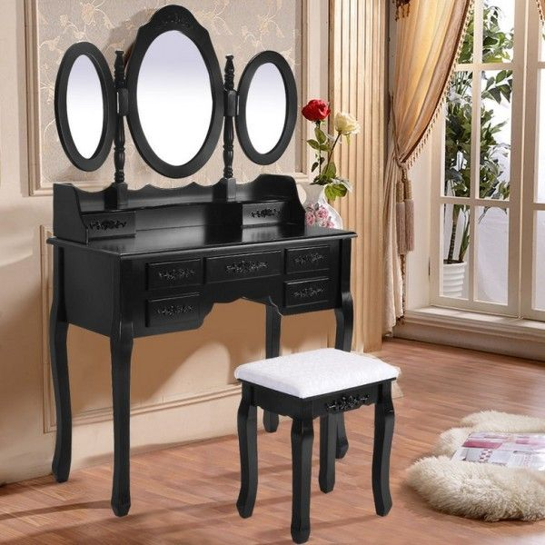 Makeup Tri Folding Mirror Vanity Set With Stool Desk Bedroom 7 Drawer, Black