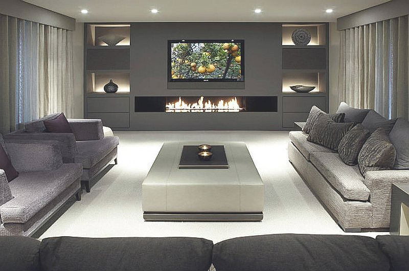 Modern Living Room Lounge Design Ideas With Long Fire Place On