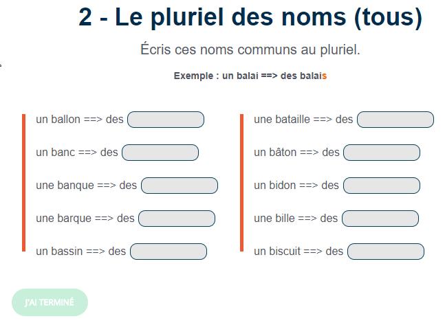 Exercice De Francais Le Pluriel Des Noms Tous Pluriel Des Noms Le Pluriel Pluriel