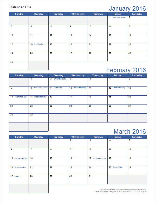 Download A Free Printable Quarterly Calendar Template For Excel With