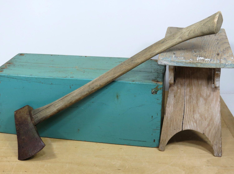 vintage old single bit long handle axe