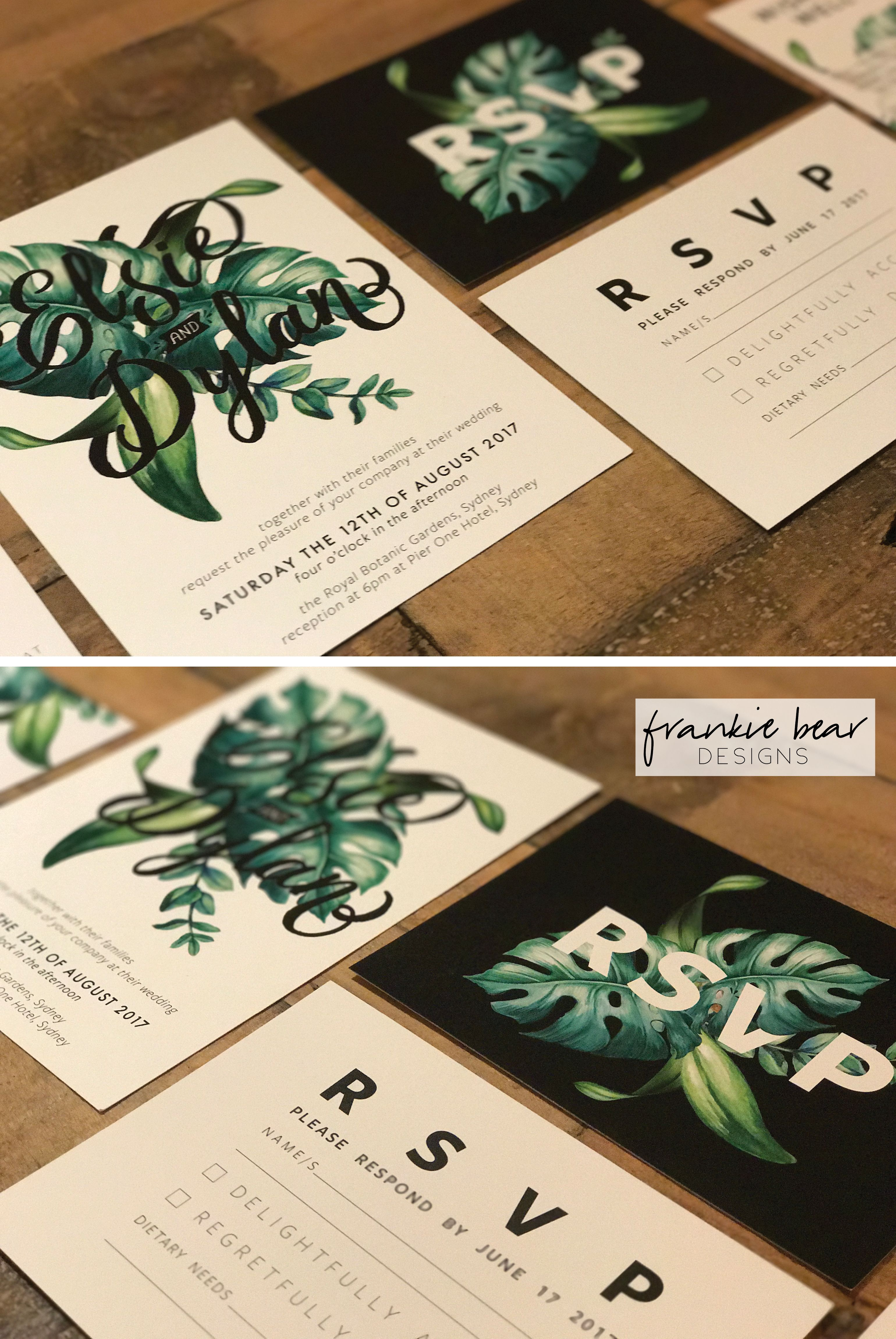 PRINTED Tropical Wedding Invitation Suite, White, Green, Typographic ...