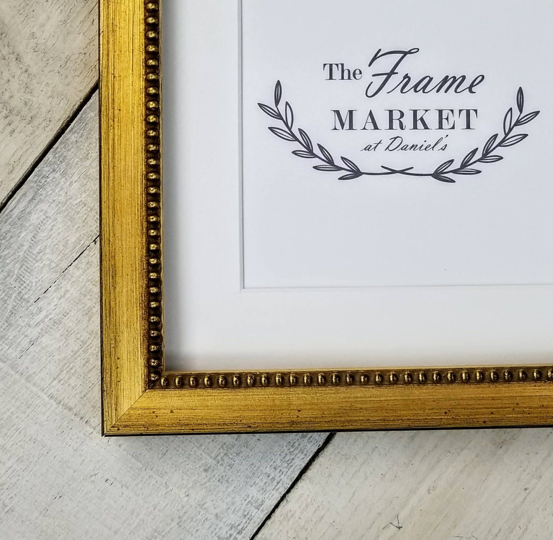 Gold Bead Picture Frame With White Mat 8x10 9x12 11x14 Etsy Wood Picture Frames Frame Picture Frames