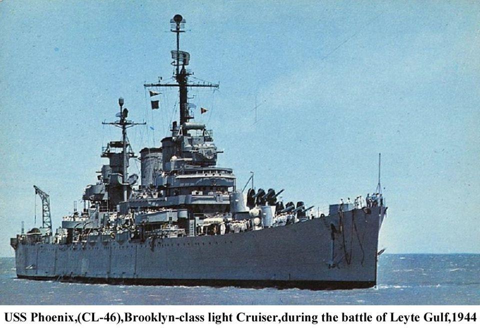 USS Phoenix (CL-46) Brooklyn-class light cruiser during the