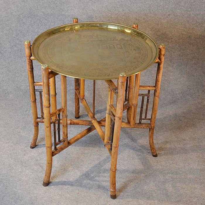 Antique Berber Benares Brass Tray Lamp Table Quality Bamboo - bambus mobel produkte nachhaltigkeit