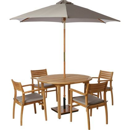 malmo 4 seater round teak garden furniture set