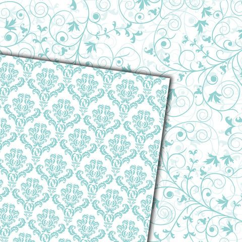 Digital Paper Pack Damask & Swirls Pale Turquoise Blue on White - Gidget Designs  - 3