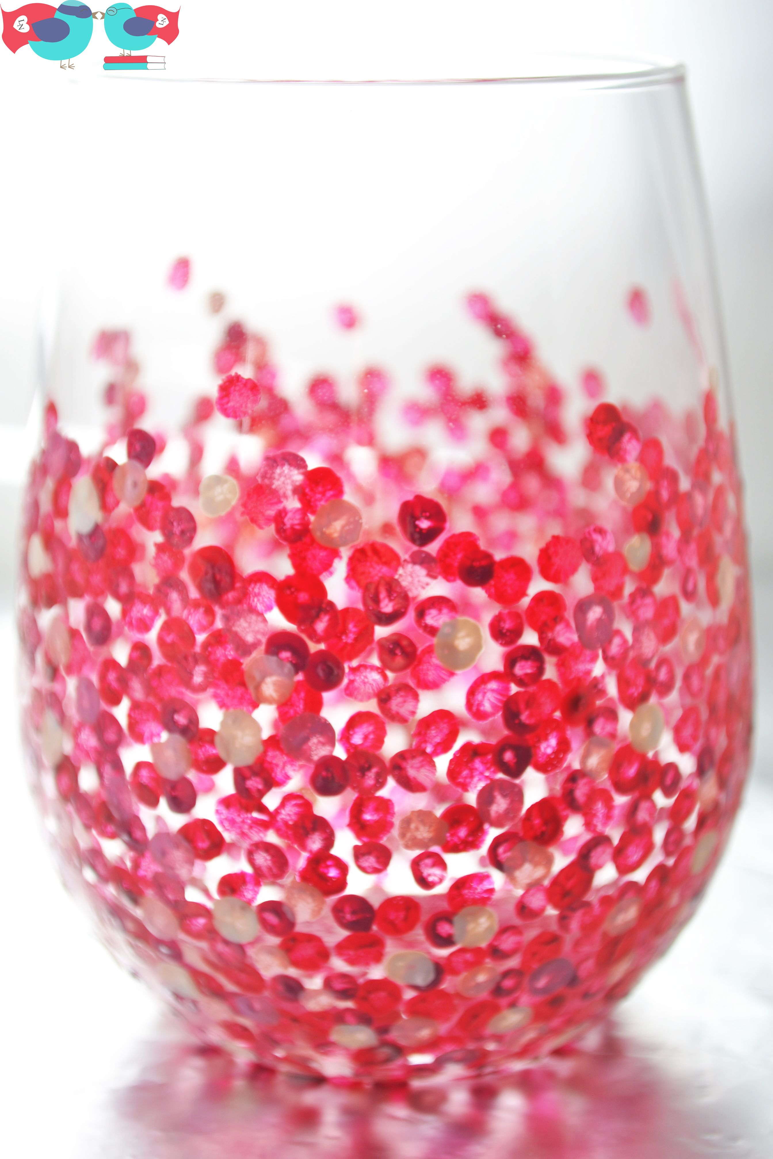 How To Decorate Wine Glasses With Hand Painted Confetti Dots Wine Glasses Decorated Wine Glasses Hand Painted Stemless Wine Glasses