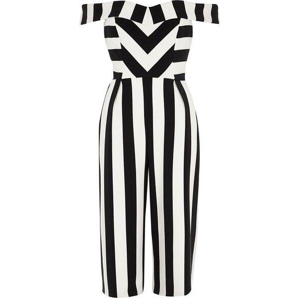 06905f05138 River Island Petite black stripe bardot culotte jumpsuit ( 140) ❤ liked on  Polyvore featuring jumpsuits