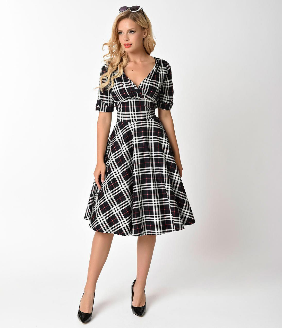 b312799e9 Unique Vintage 1950s Black & White Plaid Delores Swing Dress with Sleeves  #vintage1950sdresses
