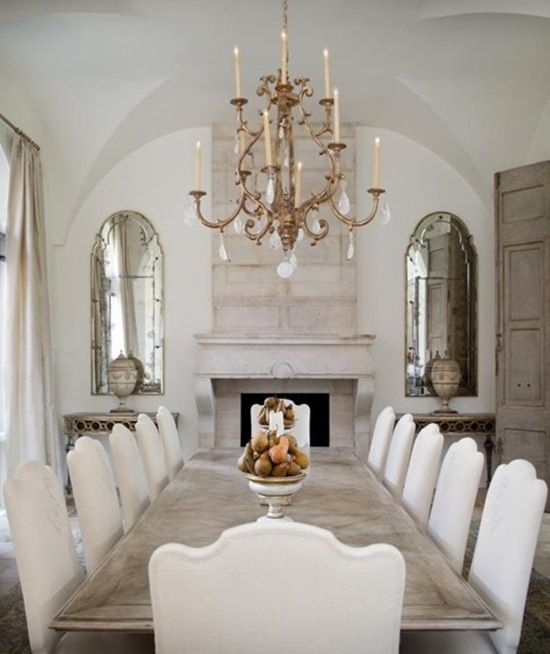 Beautiful Formal Dining Room White Linen Chairs Bleached Wood Table Gorgeous Stone Fireplace