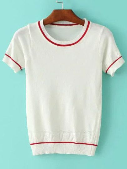 White Striped Trim Short Sleeve Sweater